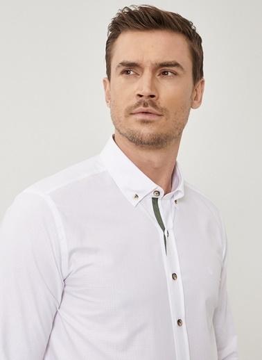 Beymen Business Slim Fit Armürlü Gömlek 4B2020200017 Beyaz